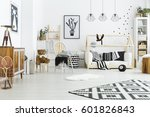 kids room with house bed ... | Shutterstock . vector #601826843
