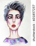 woman face. funny girl. fashion....   Shutterstock . vector #601857257