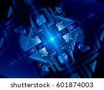 blue glowing futuristic quantum ... | Shutterstock . vector #601874003