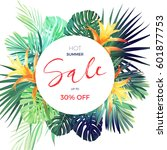 bright tropical sale flyer... | Shutterstock .eps vector #601877753