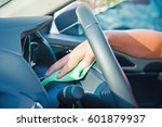 hand cleaning the car interior... | Shutterstock . vector #601879937