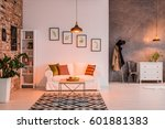spacious living room with brick ... | Shutterstock . vector #601881383