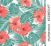 tropical coral flowers and... | Shutterstock .eps vector #601883147