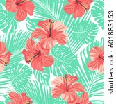 tropical coral flowers and... | Shutterstock .eps vector #601883153