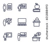 teacher icons set. set of 9...