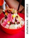 shaved ice  thai style dessert... | Shutterstock . vector #601888613