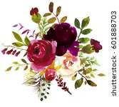 watercolor boho burgundy red... | Shutterstock . vector #601888703