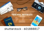 travel objects and text on... | Shutterstock .eps vector #601888817