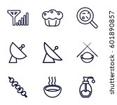 Dish Icons Set. Set Of 9 Dish...