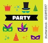 festive birthday party elements ... | Shutterstock .eps vector #601895597