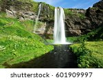 the beautiful seljalandsfoss... | Shutterstock . vector #601909997