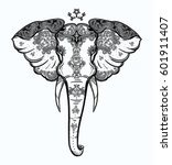decorative vector elephant with ... | Shutterstock .eps vector #601911407