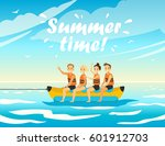 set of people on sea vacation.... | Shutterstock .eps vector #601912703