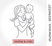 mother with child. line art... | Shutterstock .eps vector #601964537
