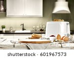 breakfast time and kitchen... | Shutterstock . vector #601967573