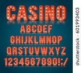 retro light bulb alphabet... | Shutterstock .eps vector #601993403