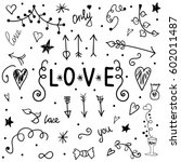 set of love. hand drawing.... | Shutterstock . vector #602011487
