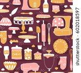 vector baking utensils seamless ... | Shutterstock .eps vector #602018597