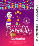 illustration of happy baisakhi... | Shutterstock .eps vector #602022527