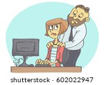 cartoon illustration of manager ... | Shutterstock .eps vector #602022947
