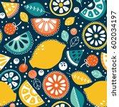 vector seamless pattern  lemons ... | Shutterstock .eps vector #602034197