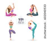 Cartoon Yoga Girls Set. Young...