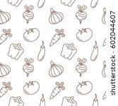 vegetables seamless pattern... | Shutterstock .eps vector #602044607