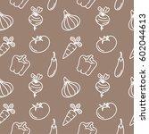 vegetables seamless pattern... | Shutterstock .eps vector #602044613