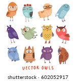 vector owls set. | Shutterstock .eps vector #602052917
