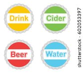 colorful  set bottle caps.... | Shutterstock .eps vector #602053397