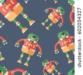 robot frog flat icon seamless... | Shutterstock .eps vector #602054327