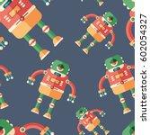 robot frog flat icon seamless... | Shutterstock .eps vector #602054327