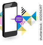 mobile phone icon with trendy... | Shutterstock .eps vector #602056397