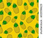 pattern of pineapple.  | Shutterstock .eps vector #602058623
