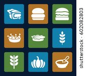 nutrition icons set. set of 9... | Shutterstock .eps vector #602082803