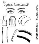 sketched vector eyes with long... | Shutterstock .eps vector #602083043