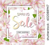 spring sale background with... | Shutterstock .eps vector #602088947