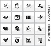 set of 16 editable mixed icons. ... | Shutterstock .eps vector #602095697