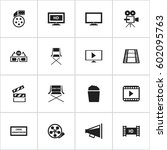 set of 16 editable movie icons. ... | Shutterstock .eps vector #602095763