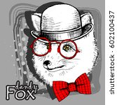 vector fox in a hat and red... | Shutterstock .eps vector #602100437