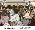 illustration of crowded... | Shutterstock .eps vector #602101553