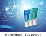 whitening toothpaste concept... | Shutterstock .eps vector #602104937