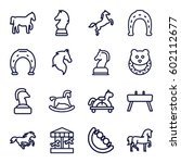 horse icons set. set of 16... | Shutterstock .eps vector #602112677