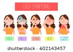 cold symptoms flat infographic. ... | Shutterstock .eps vector #602143457