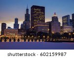 Skyline Of Chicago At Sunset....