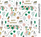birthday with tropical palm... | Shutterstock .eps vector #602166923