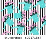 pattern of watering cans with... | Shutterstock .eps vector #602171867