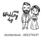 hipster groom with mustache ... | Shutterstock .eps vector #602174147