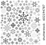 gray snowflakes icon background | Shutterstock .eps vector #602194787