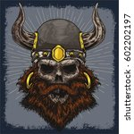 viking old skull face vector... | Shutterstock .eps vector #602202197
